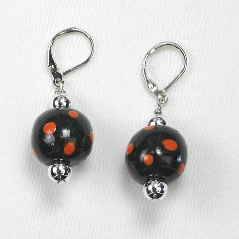 Oklahoma State Polka Dots Wood Bead Earrings