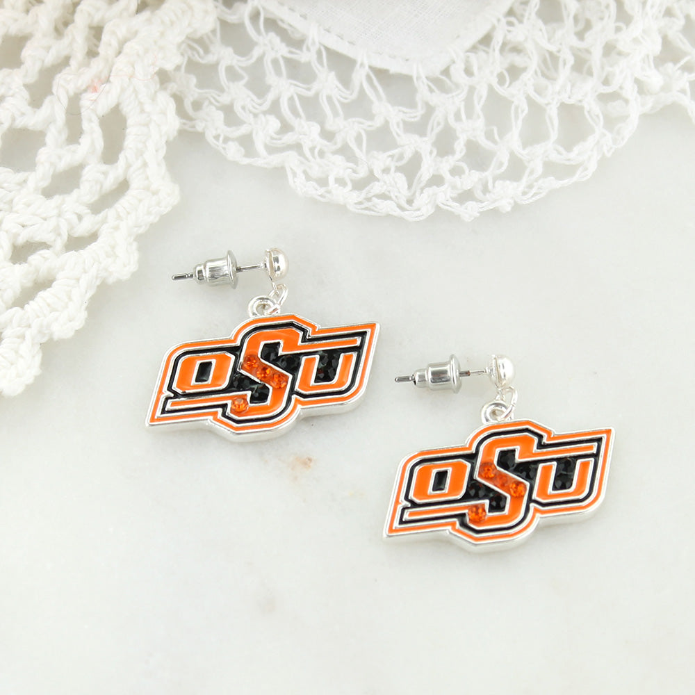 Oklahoma State Crystal Logo Earrings