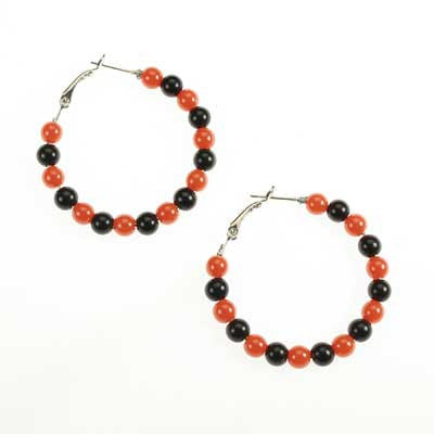 Seasons Jewelry Oklahoma State Beaded Hoop Earrings