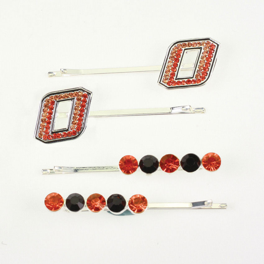 Seasons Jewelry Oklahoma State Crystal Logo Hair Pin Set
