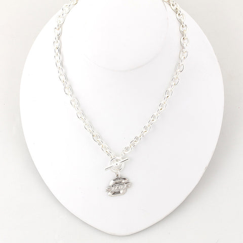 Oklahoma State Silver Logo Chain Necklace