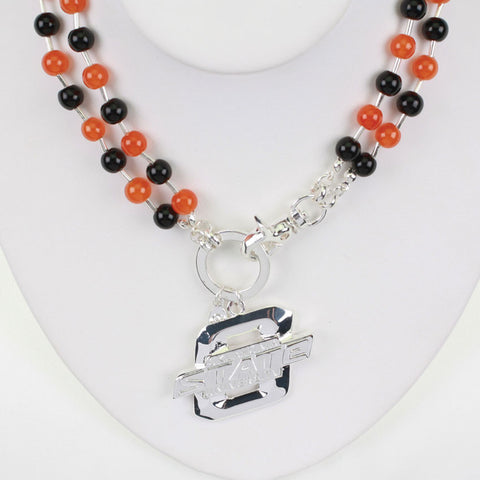 Seasons Jewelry Oklahoma State Beaded Logo Necklace