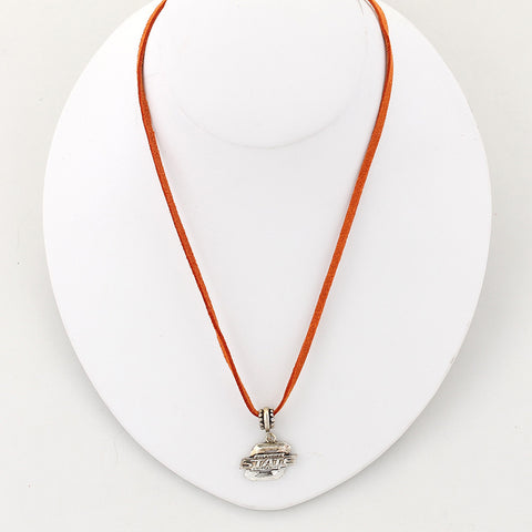 Oklahoma State Logo Single Suede Cord Neckalce