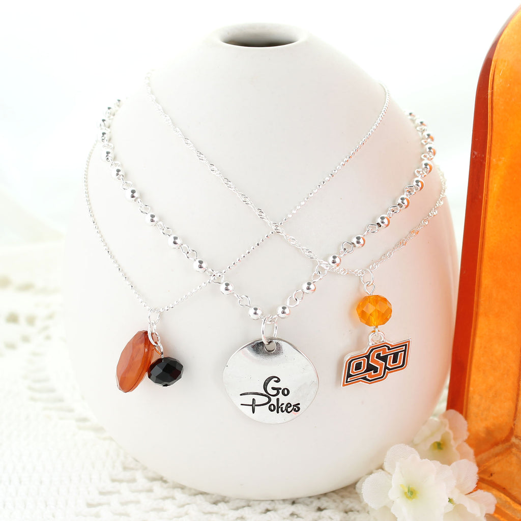 Oklahoma State Trio Necklace Set