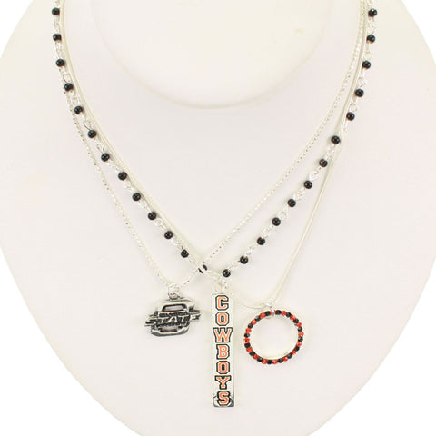 Seasons Jewelry Oklahoma State Trio Necklace
