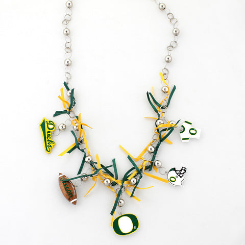 Oregon Painted Wood Logo with Ribbon Necklace