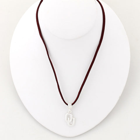 Oklahoma Logo Single Suede Cord Necklace