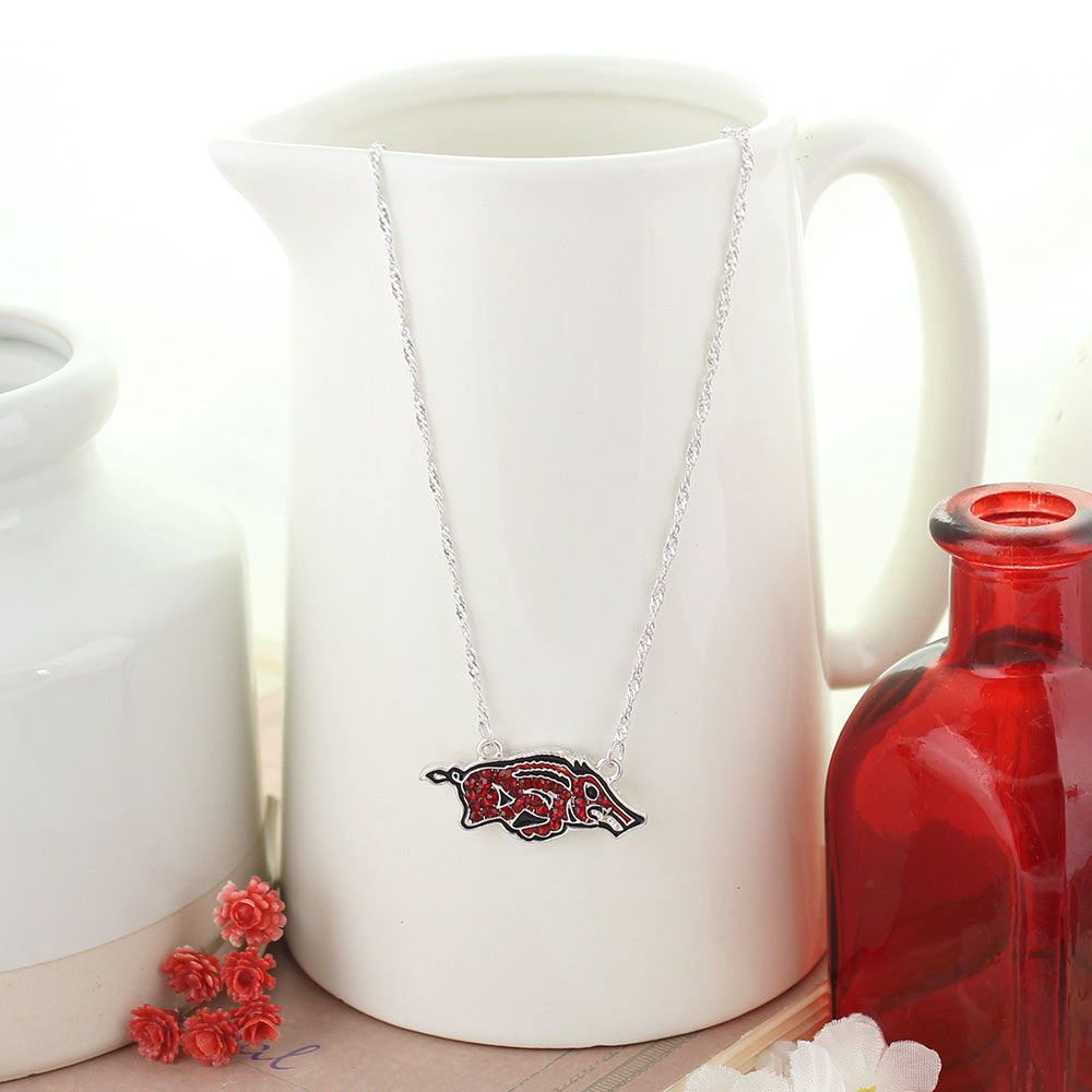 Arkansas Crystal Logo Necklace
