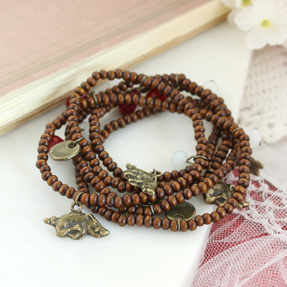 Arkansas Wood Bead Stretch Necklace/Bracelet