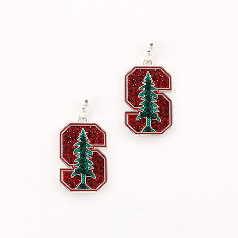 Stanford Crystal Logo Earrings