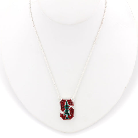 Stanford Crystal Logo Necklace