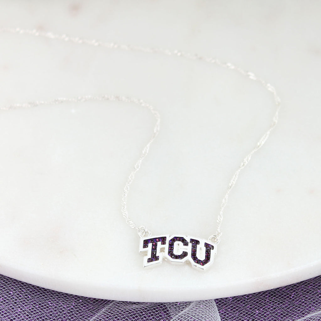 TCU Crystal Logo Necklace