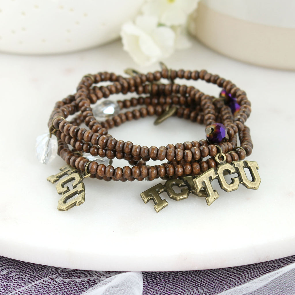 TCU Wood Bead Stretch Necklace/Bracelet