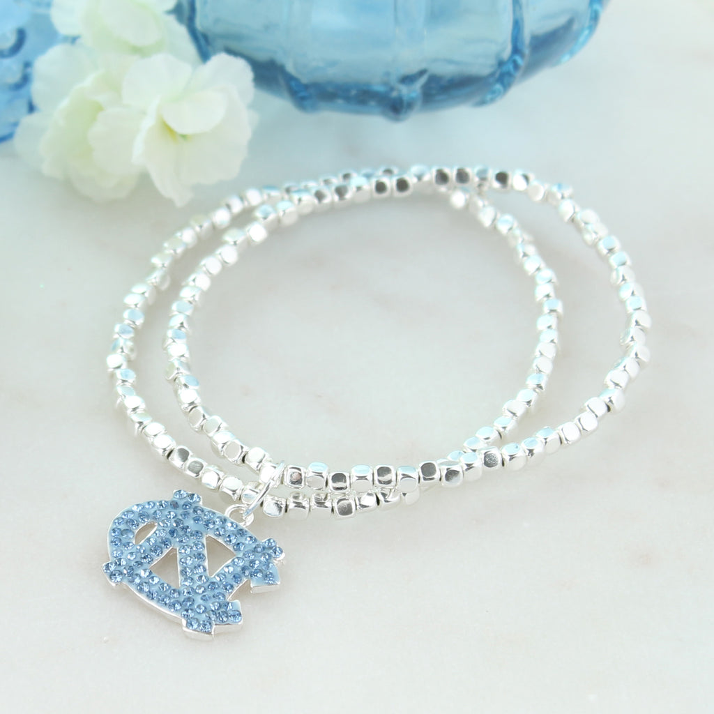 North Carolina Crystal Logo Stretch Bracelet