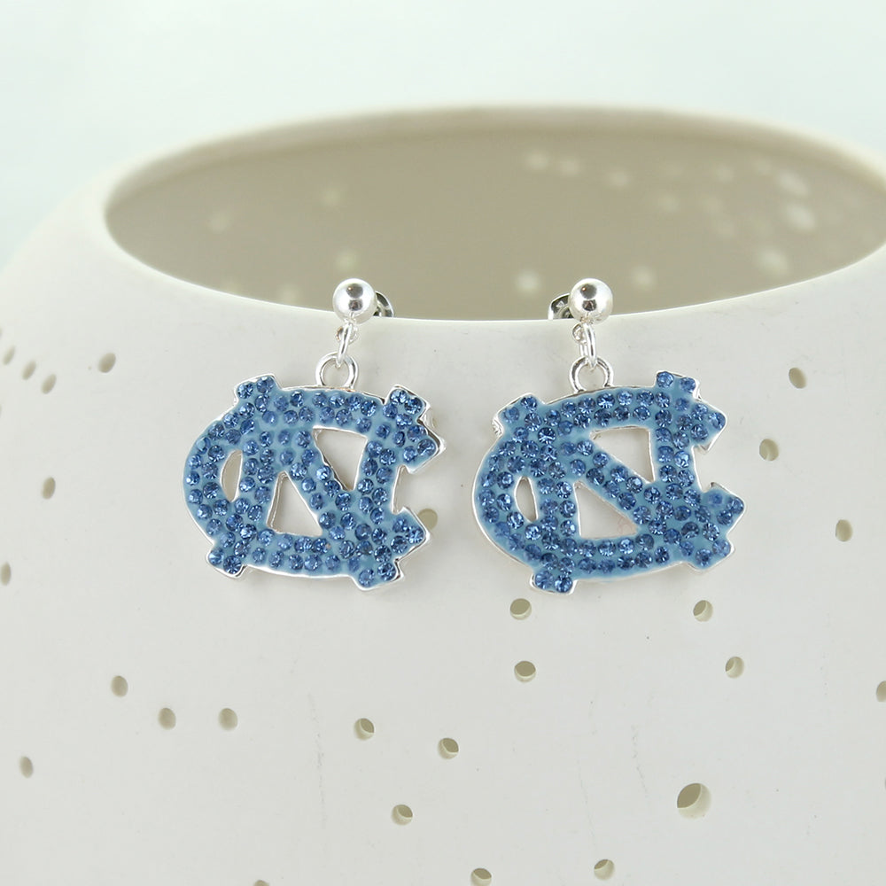North Carolina Crystal Logo Earrings