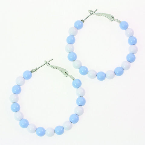 Light Blue Beaded Hoop Earrings