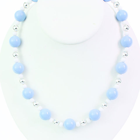 Light Blue Beaded Stretch Necklace