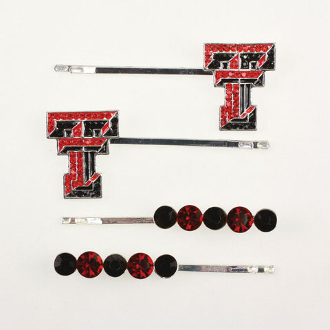 Seasons Jewelry Texas Tech Crystal Logo Hair Pin Set