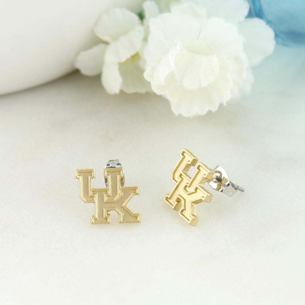 Kentucky Matte Gold Logo Stud Earrings