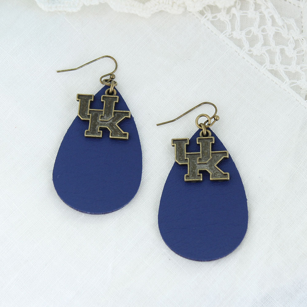 Kentucky Vintage Style Logo Leather Teardrop Earrings
