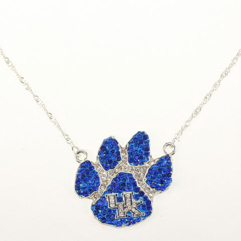 Kentucky Wildcats Paw Crystal Logo Necklace