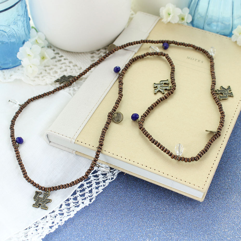 Kentucky Wood Bead Stretch Necklace/Bracelet