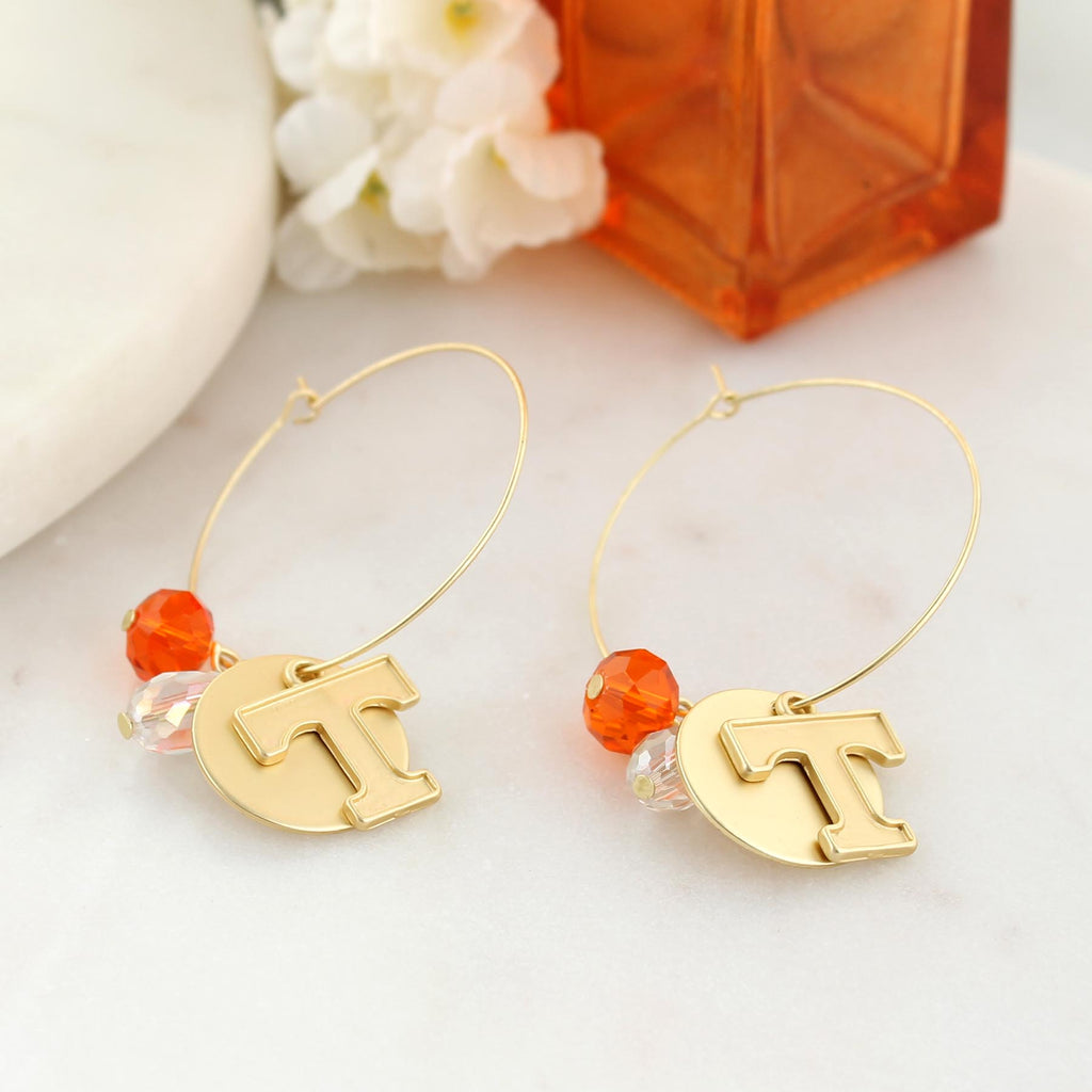 Tennessee Matte Gold Logo Hoop Earrings