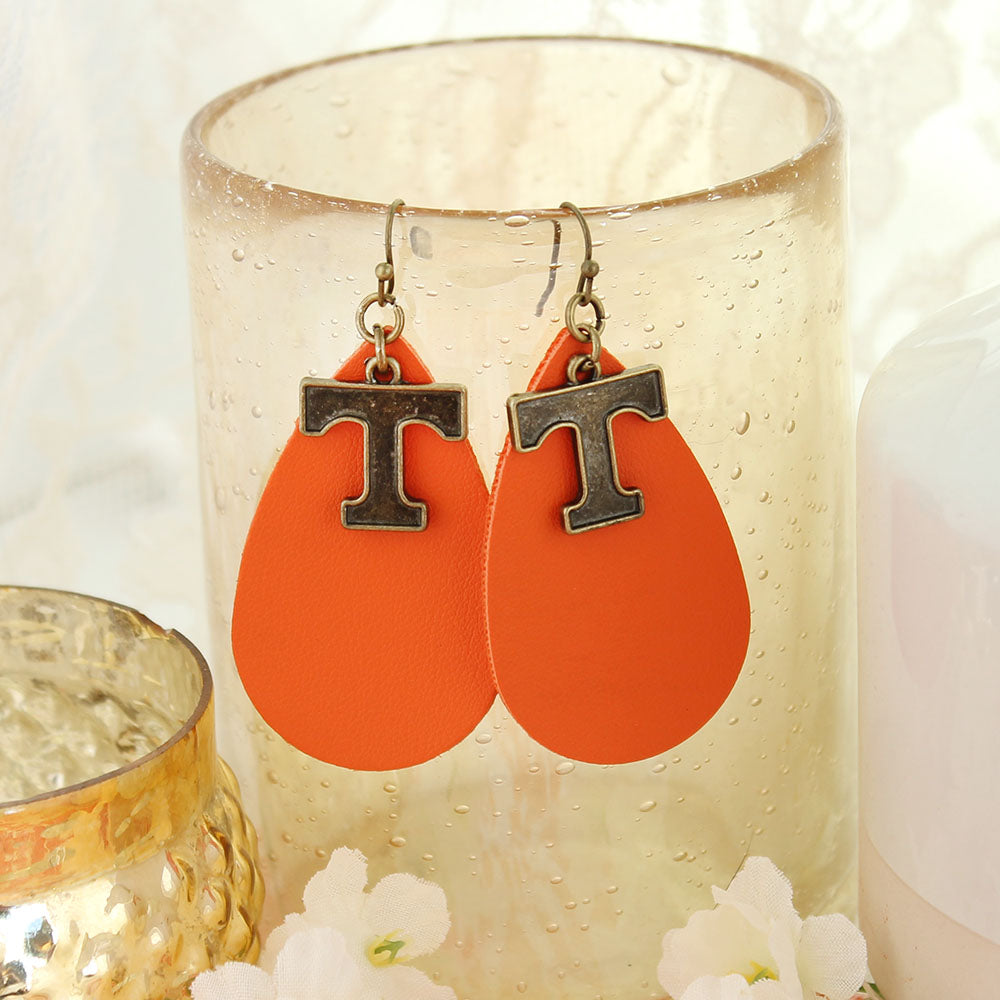 Tennessee Vintage Style Logo Leather Teardrop Earrings