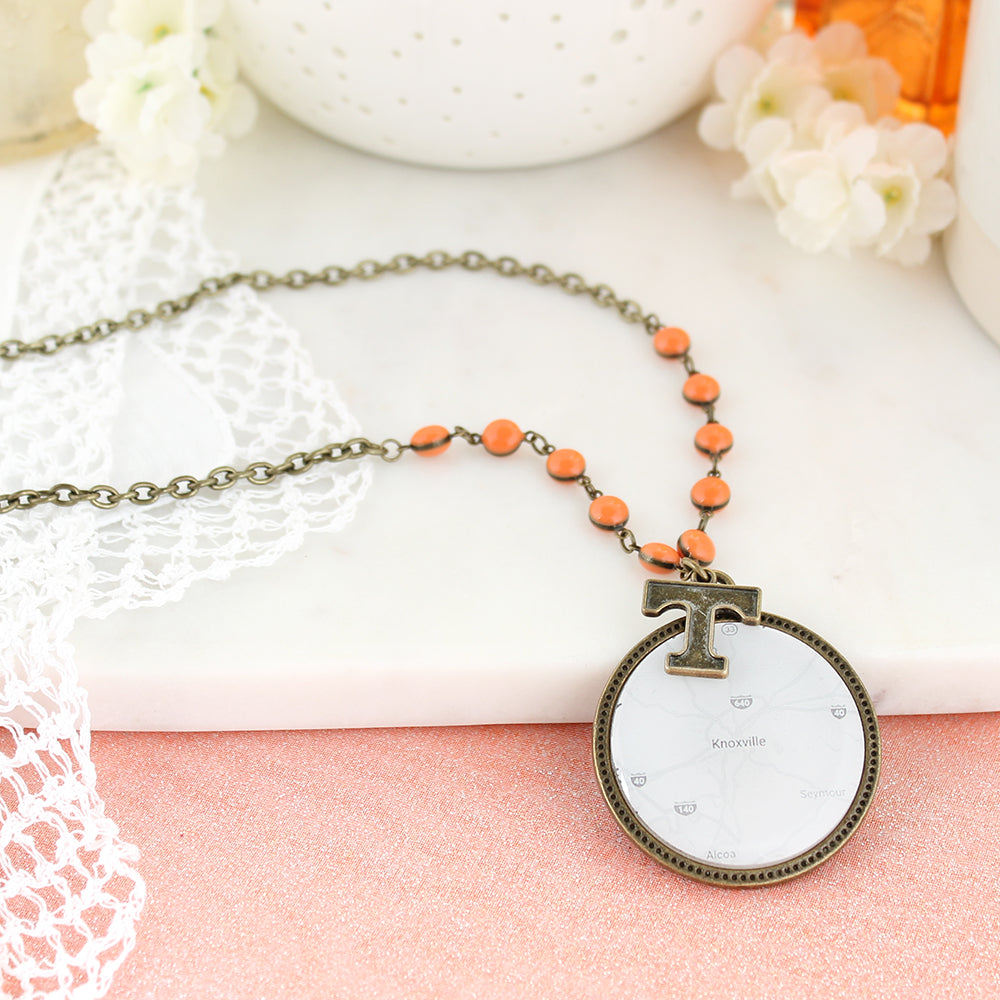 "34"" Tennessee Vintage Style Logo and Map Necklace"