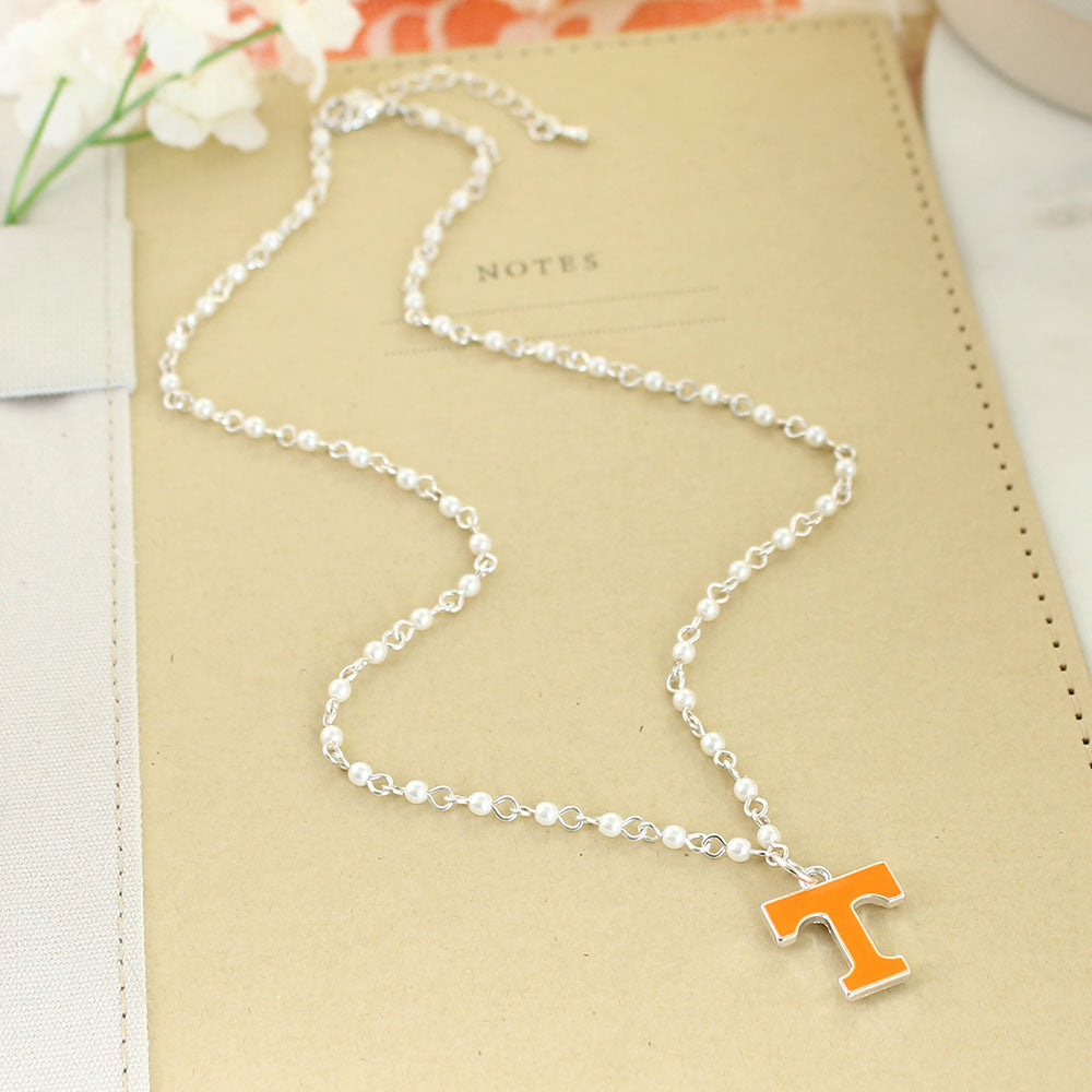 Tennessee Enamel Logo & Pearl Necklace