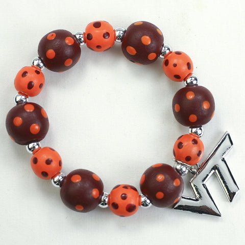 Virginia Tech Polka Dots Wood Bead Stretch Bracelet