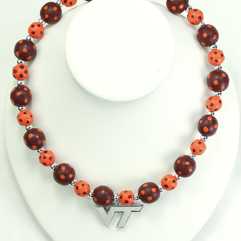 Virginia Tech Polka Dots Wood Bead Stretch Necklace
