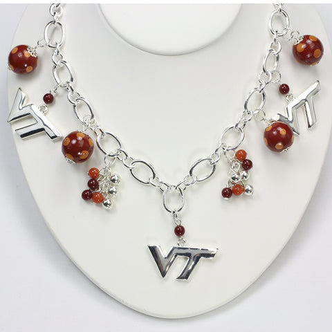 Virginia Tech Bauble Charm Necklace