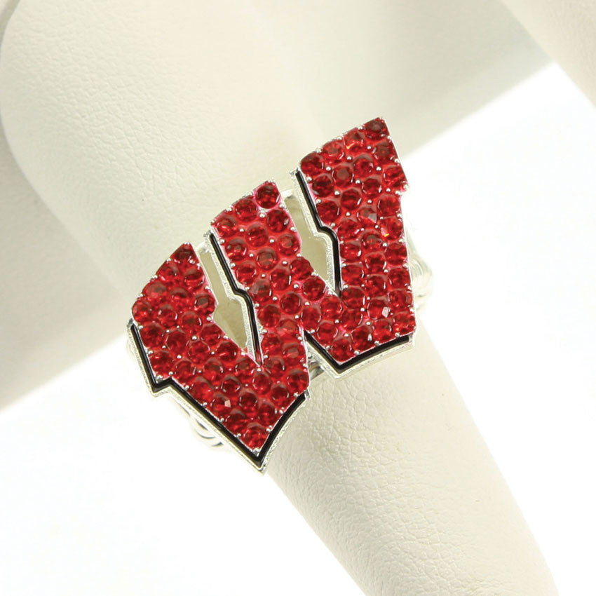 Seasons Jewelry Wisconsin Crystal Logo Stretch Ring