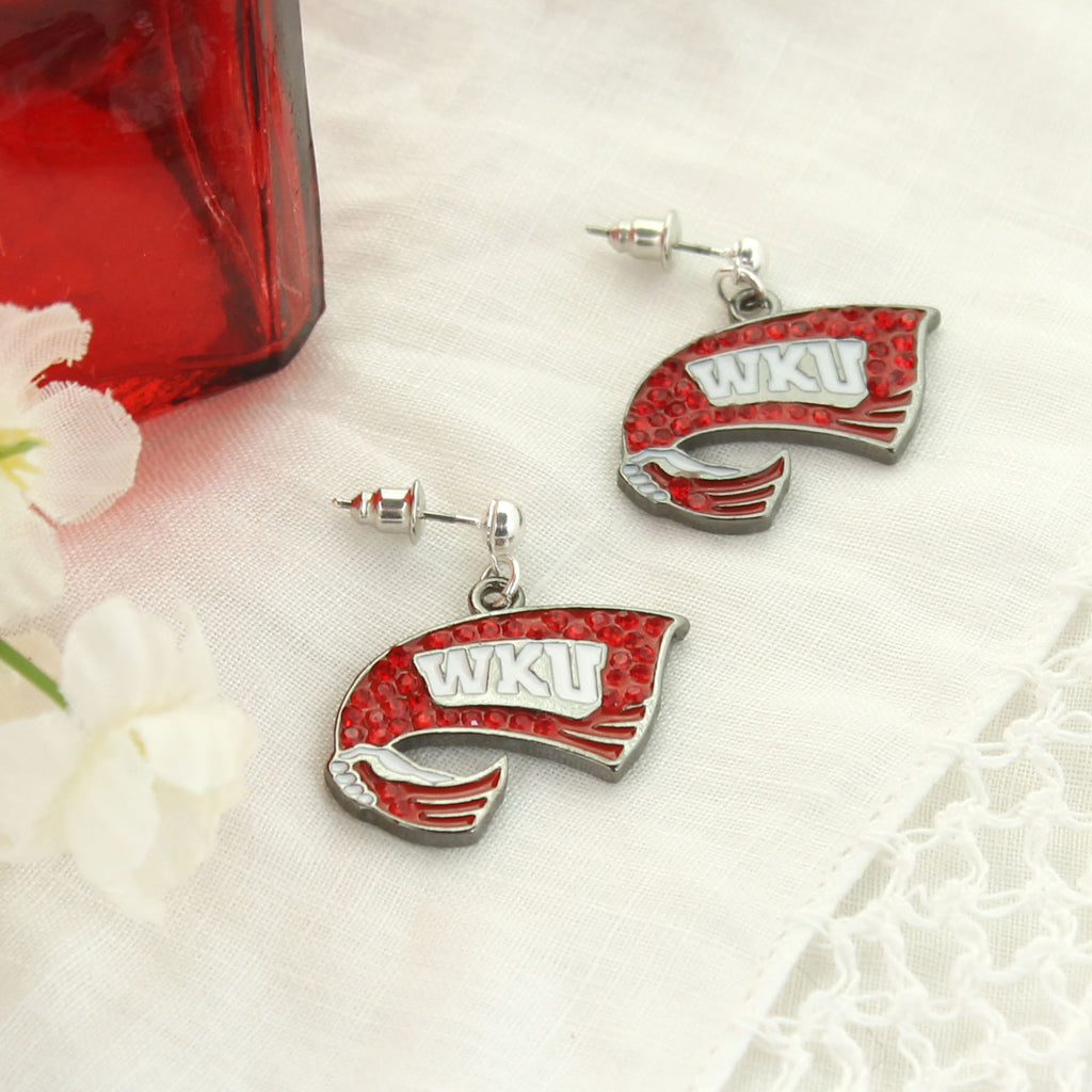 Western Kentucky Crystal Logo Earrings