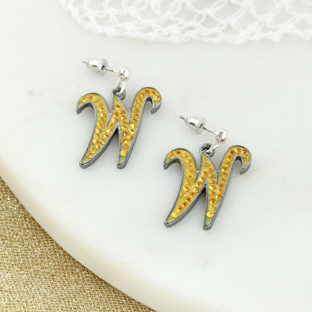 Wichita State Crystal Logo Earrings
