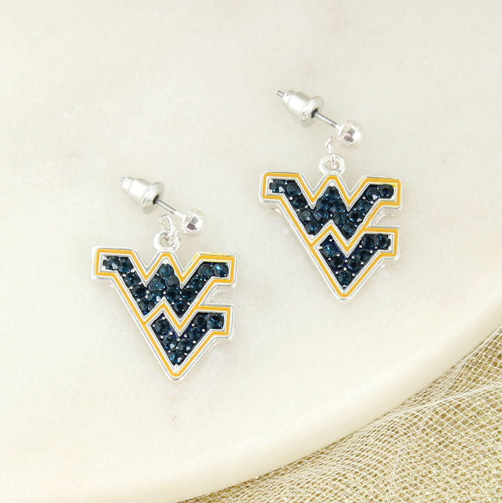 West Virginia Crystal Logo Earrings