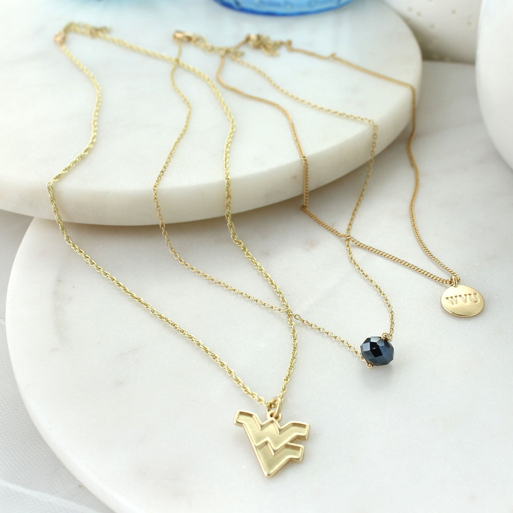 "16"" - 20"" West Virginia Matte Gold Logo Trio Necklace Set"