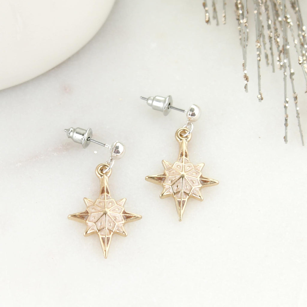 Enamel & Gold Nativity Star Earrings