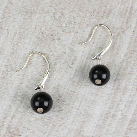 Seasons Jewelry Black Bead Earrings