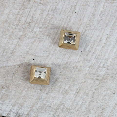 Square Crystal and Gold Stud Earrings