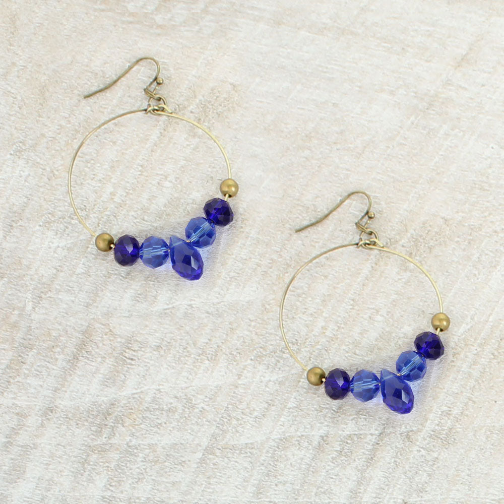 Blue Crystal Hoop Earrings