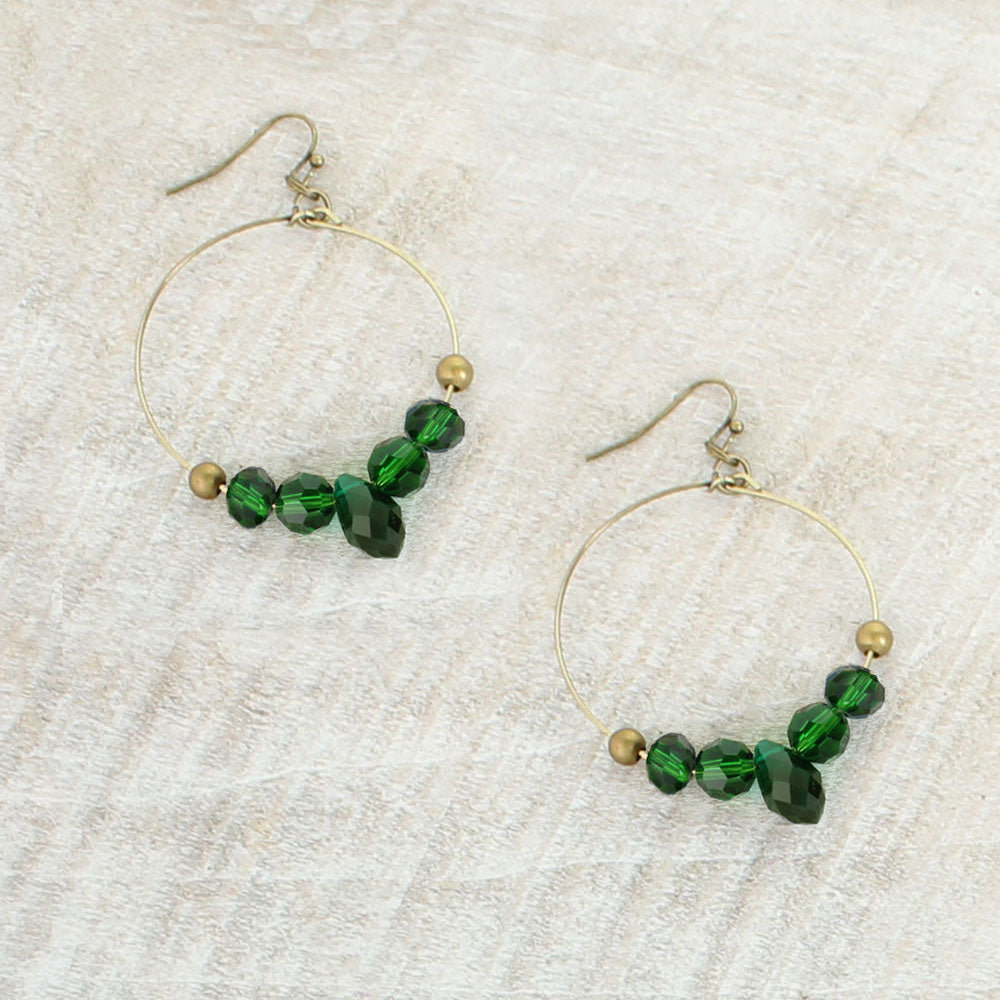 Green Crystal Hoop Earrings