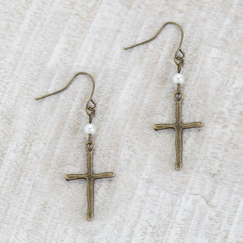 Rustic Cross and Pearl Earrings
