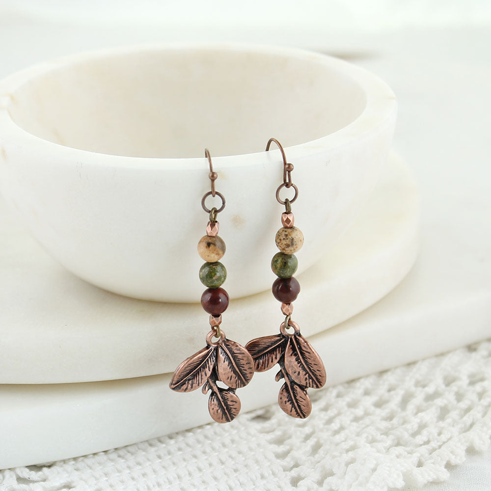 Copper Leaf & Stone Bead Earrings