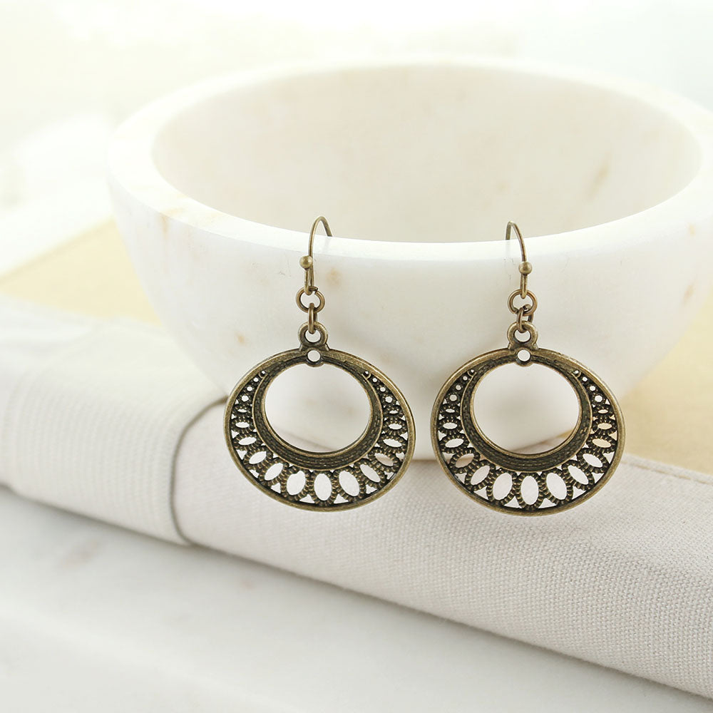 Vintage Style Motif Circle Earrings