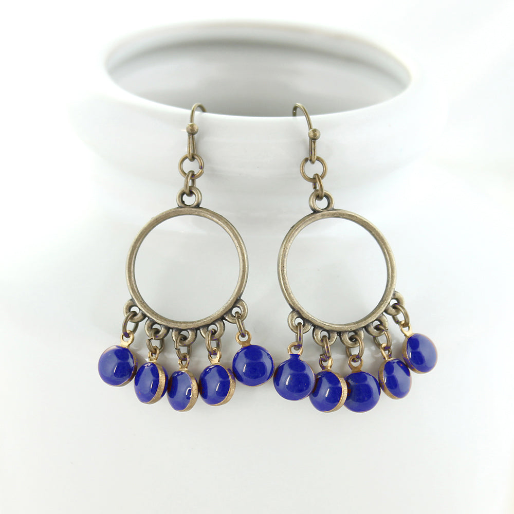 Vintage Enamel Dot Earrings - Blue