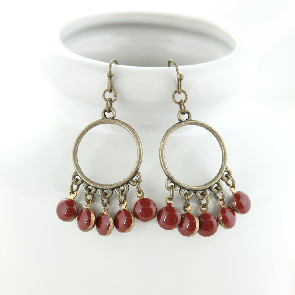 Vintage Enamel Dot Earrings - Crimson