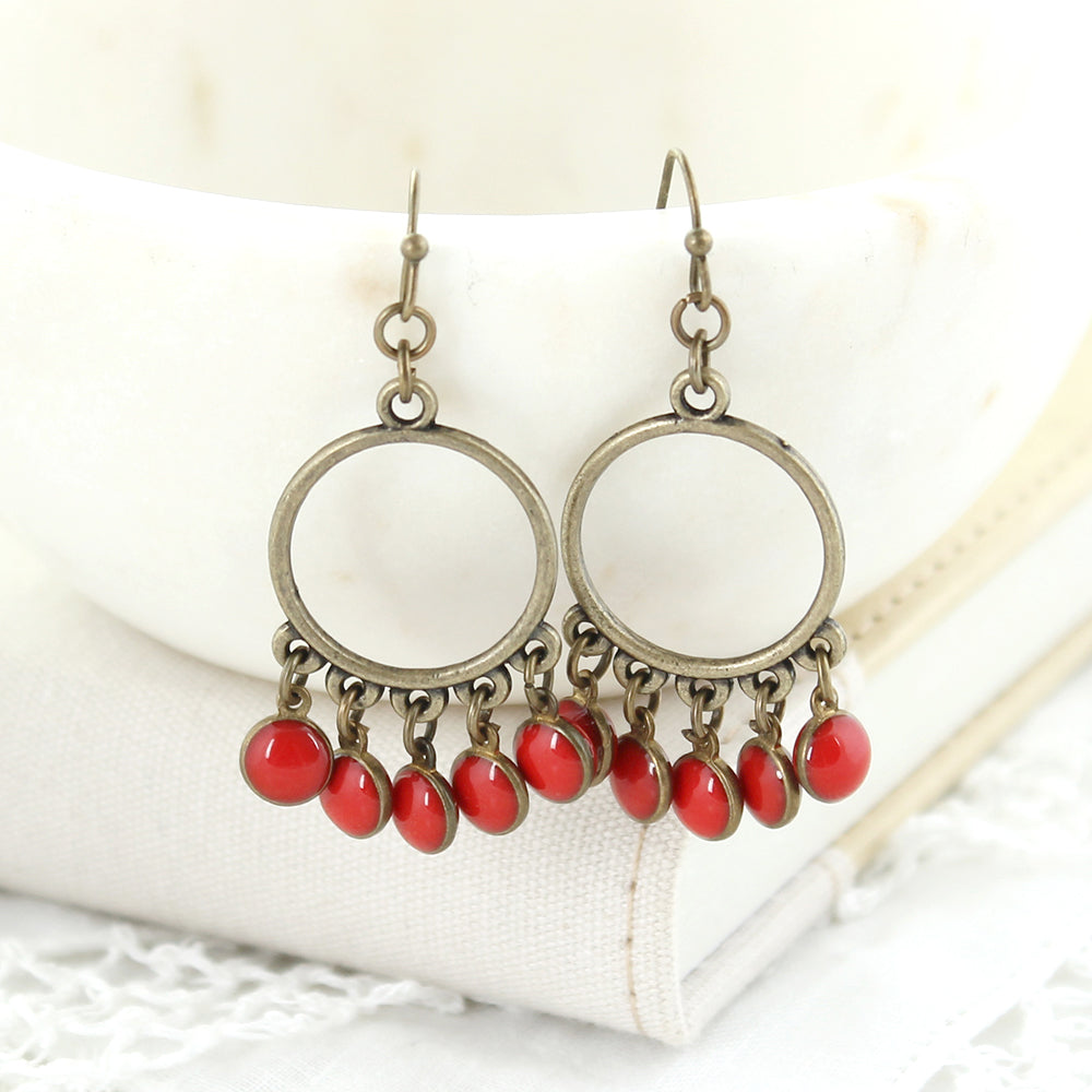 Vintage Enamel Dot Earrings - Red