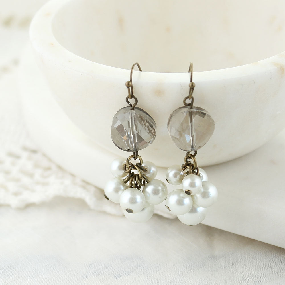 Gray Crystal & Pearl Cluster Earrings